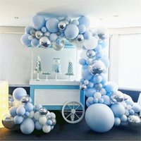 doğum günü balonları beyaz toptan satış-192 adet 4D Yuvarlak Balon Garland Arch Karışık Mavi Beyaz Gümüş Lateks Balonlar Şerit Zincir Doğum Günü Düğün Dekorasyon için