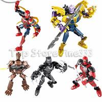 boneca mini para homens venda por atacado-Vingadores Endgame Blocos de Construção Conjuntos Brinquedos Marvel Kid Brinquedos Presentes Mini Superhero Deadpool Thanos Homem-Aranha Transform Boneca Figuras