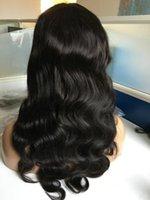 insan vücudu dalgası dolu peruk toptan satış-Ünlü Peruk Dantel Ön Peruk Vücut Dalga 10A Doğal Renk Güzel Çin Bakire Insan Saçı Tam Dantel Peruk Siyah Kadın Ücretsiz Nakliye için