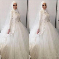 ingrosso abito da sposa moderno di hijab-Abiti da sposa moderni con abito da ballo hijab musulmano 2019 Abiti da sposa con appliques di pizzo a collo alto Dubai Dubai Abiti da sposa in pizzo arabo M81