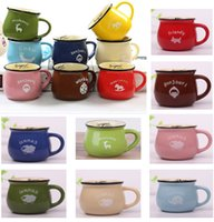 copa de elefante al por mayor-Taza de leche de cerámica de dibujos animados para elefante caballo resistente al calor desayuno taza de café taza de agua potable 201-300ml 7 colores DHL SHIP HH9-2101