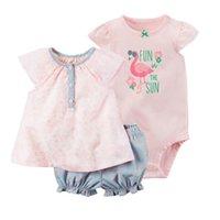 bébé polaire achat en gros de-2019 Offre spéciale nouvelle arrivée coton polaire complète enfants bébé pour Bebes fille 3pcs Set robe et barboteuse, rose couleurs vêtements J190709
