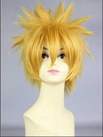 Wholesale wig anime men online - WIG Cool Man Boys Short Hair Wig New Vogue Sexy Male Uzuma Cosplay Anime Wigs Yellow