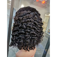 Wholesale brazilian curly wave short hairstyles for sale - Brazilian Virgin Hair Bob Lace Front Wig inch Deep Wave Curly Short Charming Natural Color Bob Wigs Kinky Curly