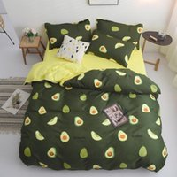 Wholesale queen beds for kids resale online - Avocado Cartoon Bedding Set for Kids Adult Duvet Cover King Queen Size Printing Bed Set Green Home Textiles Bedclothes T200409