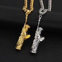 statue freiheit halskette großhandel-Hip Hop Schmuck Charm Halskette US Symbol Schmuck Amerikanische Freiheitsstatue Anhänger Kette Halsketten
