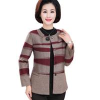 short ladies trench coat venda por atacado-Elegante Coreano Magro Mulheres Trench Coat Escritório de Meia Idade Senhora Curta Blusão Completa Manga Listrada Fina Sobretudo Plus Size