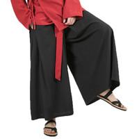 pantalon en lin noir hommes achat en gros de-Style chinois 2019 Hommes Coton Lin Large Pantalon Noir Harajuku Homme Streetwear Harem Pantalon Homme HanFu Kongfu Pantalon Jupe