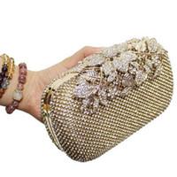 Wholesale bridal european handbags resale online - Designer Crystal Lyne Leaf Clasp Net Diamond Evening Bag Encrusted Drilling Clutch Handbag Wedding Purse Bridal Messenger Bags R3326