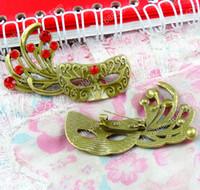 masque de matériau achat en gros de-10 pcs 54 * 31 MM Vintage masque Broche Broche BRICOLAGE à la main bijoux accessoires en métal matériaux en alliage de zinc placage de bronze antique