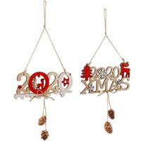 signos de navidad al por mayor-Carteles colgantes de navidad 2020 Elk Xmas Decoración de madera Carta Año nuevo Feliz interior Fiesta de Navidad al aire libre Decoraciones colgantes de pared M557F