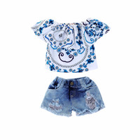 ingrosso ragazze tuta bianca-Vendita al dettaglio ragazze boutique abiti estate 3 pezzi pantaloncini set blu e bianco stampato top + buco denim shorts bambino tuta abiti firmati
