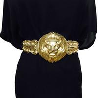 damen elastische gürtel großhandel-Goldene taille gürtel mode frauen metall breiten bund weiblichen markendesigner damen gürtel für kleid