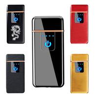 elektrische wiederaufladbare zigarette großhandel-Neue Fingerprint Touch USB Feuerzeug Elektrische Feuerzeuge Metall Wiederaufladbare Feuerzeug Doppelseitige Heizdraht Taschenlampe 046
