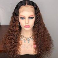 renk 27 kıvırcık toptan satış-1B / 27 Kıvırcık Brezilyalı Remy Saç Dantel Peruk Ombre Renk Dantel Ön İnsan Saç Peruk Bebek Saç Ile 13 * 4 Ücretsiz Bölüm Ağartılmış Knot