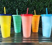 mudanças de logotipo venda por atacado-LIVRE DE BPA! Copos bebendo da cor 24oz copo bebendo plástico mágico com tampa e palha Caneca de café mágica das cores dos doces Logotipo feito sob encomenda!