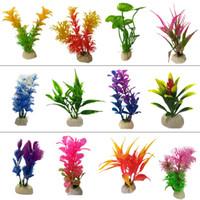 plantes artificielles violettes achat en gros de-Fish Tank Décoration Aquarium ornements rouge pourpre aquatique artificiel en plastique sous-marine décor eau herbe paysage plante MMA2870-15