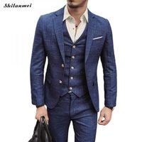 официальные брюки для мужчин оптовых-Wedding Formal Wear Suits & Blazer Men Good Quality Blue Plaid Suits Fashion Male Formal Dress Blazer Jackets+Pants+Vest