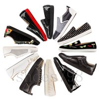 ingrosso stivali alti in pelle uomo-high quality designer luxury baskets christian louboutin red bottoms men women mens leather spiked shoes hommes heels bottom sneakers platform