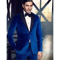 pajarita de terciopelo azul real al por mayor-Traje de alta calidad de Royal Blue Velvet men Blazer Groom Tuxedos terno masculino 2018 para hombre trajes de vestir (chaqueta + pantalones + pajarita)