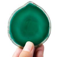 ingrosso agata le fette-1 lotto (5pc) fette di agata naturale tinte verde, forma irregolare cristallo geode lastre di lastra di pietra, casa ornamento creazione di gioielli 1.5