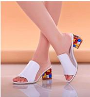 strass keil flip flops großhandel-Strass Peep Toe Heels Frauen Sandalen Schuhe Sexy Open Toe Wedge Slides Schuhe Frauen High Heels Sandalen Plattform Flip-Flops
