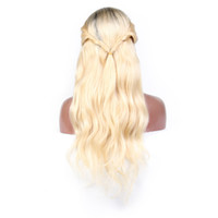 Wholesale wig color 613 for sale - Group buy Body Wave Ombre Blonde lace front human hair wigs Remy Hair Brazilian Wig Baby Hair Pre Plucked Hairline
