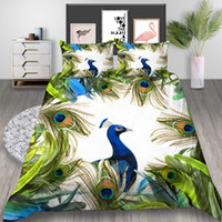 Wholesale peacock bedding sets resale online - Peacock Printed Bedding Set Queen Beautiful Fresh D Duvet Cover King Cartoon Lifelike Home Deco Double Single Bed Cover with Pillowcase