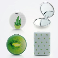 Wholesale small beauty mirror for sale - Group buy Double sided Hand Mirror Makeup Vanity Metal Small Fresh Natural Pocket Mirror Compact Folded Portable Beauty Tool F3416