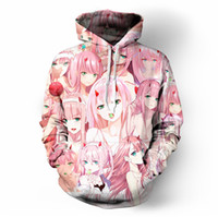 chicas caras atractivas al por mayor-SOSHIRL DARLING Zero Two Hoodies Hipster Anime Sexy Killer Hoody Unisex Pink Girls Face Tops Kawaii Cute Elite Jersey Jerseys