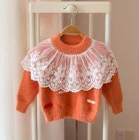 ingrosso il colore del merletto di lavoro a maglia-maglione abbigliamento bambino pullover Pizzo Lolita Maglione lavorato a maglia tinta unita Boutique Ragazza maglione primavera autunno