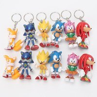 Wholesale hedgehogs dolls online - 6cm Sonic the Hedgehog action figures Toy PVC toy Sonic Characters figure toys brinquedos Doll set keychain pendant gift
