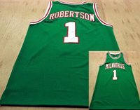 Wholesale drop ship jerseys resale online - 1 Oscar Robertson Buck Basketball Jerseys Mitchell Ness Stitched Classic Green All Stitched drop shipping