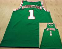 camisetas de barco de gota al por mayor-1 Oscar Robertson Buck jerseys del baloncesto Mitchell Ness 1971-1972 cosido verde clásico del envío de la gota Todo cosido