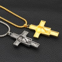 Wholesale pharaoh chain pendant for sale - Group buy Cross Pendant Necklace for Men Metal Creative Cross Color Gold and Silver Pharaoh Head Pendant Necklace Long Chain Necklace