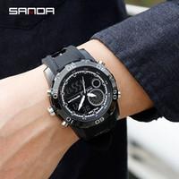 спортивные наручные часы оптовых-2017 SANDA стиль мода красочные Мужчины Женщины спорт открытый цифровой аналоговый будильник 30 водонепроницаемый G часы