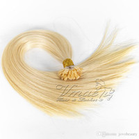 Wholesale 12 extension flat tip resale online - Russian to inch g strand g Double Drawn Blonde Straight Prebonded Human Keratin Pre Bonded Flat Tip Hair Extension