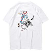 Wholesale tshirt long hip hop resale online - 2019 Streetwear T Shirt Funny Cat Ukiyoe Japanese Style Men Harajuku T Shirt Hip Hop Tshirt Cotton Short Sleeve Summer Tops Tees