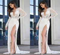vestidos de noiva da coluna ocidental venda por atacado-2019 Nova Moda Sexy Alta Lado Dividir Bainha Vestidos de Casamento Cheia Do Laço Profundo Decote Em V Mangas Compridas Vestido De Noiva Vestidos de Noiva vestido de novia