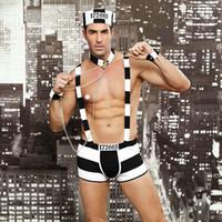 männer kleiden heiße sexy großhandel-JSY Männer Sexy Kostüme Heiße Erotische Sexy Gefangene Cosplay Phantasie Karriere Kleid Männer Halloween Kostüm Gefangene Uniformen 6615