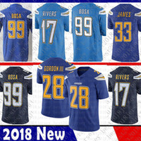 jersey de fútbol para hombre xxl al por mayor-28 Melvin Gordon Limited Los Angeles 33 Derwin James Charger jersey 17 Philip Rivers 99 Joey Bosa Camisetas de fútbol Color Rush Hombre Adulto