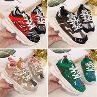 rahat çocuk çocuk ayakkabıları toptan satış-Versace Chain Reaction Cross Chainer 2020 Yeni Geliş Zincir Reaksiyonu Günlük Ayakkabılar Çocuklar için Siyah Beyaz Pembe Moda Eğitmenler Spor çocuklara Casual Sneakers çalışan