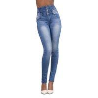jeans mais sexy venda por atacado-MoneRffi Mulheres Jeans De Cintura Alta Magro Alta Elastic Sólida Lavagem Skinny Sexy Calças Jean Novo Denim Stretch Plus Size Pencile Calças