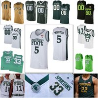 baloncesto michigan state al por mayor-Michigan State Spartans personalizada Baloncesto Jersey NCAA Cassius Winston Johnson Henry Tillman Bingham Gabe Brown verde Randolph