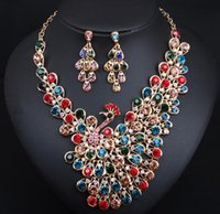 Wholesale gift christmas jewellery for sale - Group buy Europe fashion exaggerated rhinestone crystal peacock necklace earring necklace set female Wedding bride jewellery set