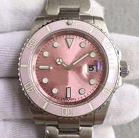 anillo de cerámica de moda al por mayor-Relojes para mujer de lujo Movimiento mecánico automático 40 mm de diámetro Movimiento de acero Relojes impermeables para señora Anillo de cerámica Esfera rosa de moda