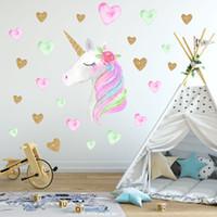 çıkartmalar yeni bebek toptan satış-Yeni 36 * 60 cm unicorn duvar sticker çocuk bebek Hayvan Karikatür PVC unicorn boynuzları ev dekor duvar sticker Çıkartması Çoc ...