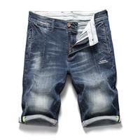 lose jeans-shorts großhandel-2019 männer Sommer Mode Marke Brief gedruckt Lässig Gerade Jeans Kurze Herren Lose Bermuda Strand Denim shorts Plus Größe 40