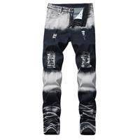 seksi moda kot toptan satış-2019 Yeni Düz Marka Erkekler Kot Pantolon Yırtık Moda Marka Tasarım Denim Pantolon Retro Seksi Delik Kişilik Kot Yırtık