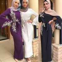 vestido de casamento vermelho venda por atacado-Elegante Bordados muçulmana Abaya vestido cheio Vestidos Cardigan Kimono solto longa túnica Vestidos Jubah Oriente Médio Eid Ramadan islâmico